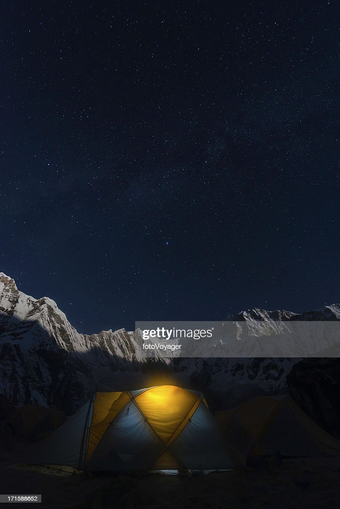 Stars shining over dome tent in Himalaya mountain base camp