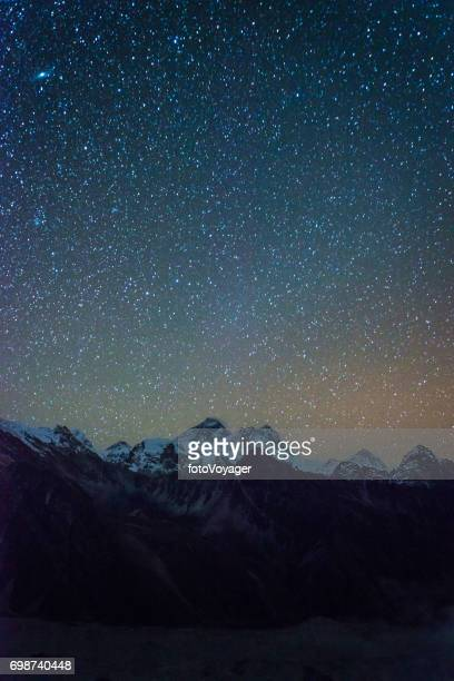 Stars shining over Mt Everest summit  mountain peaks Himalayas Nepal