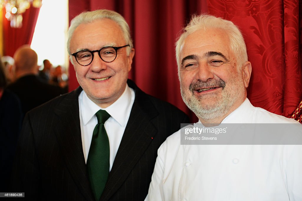 Starstudded French Chefs Alain Ducasse and Guy Savoy pose prior a press conference for the presentation of the 'Gout de France / Good France' event...