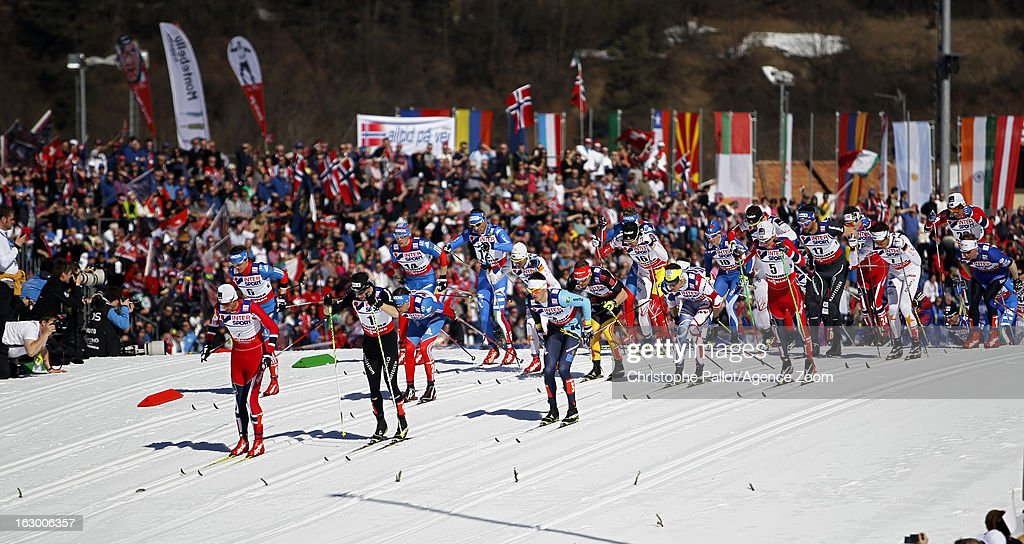 Start competes during the FIS Nordic World Ski Championships Cross Country Men's Mass Start on March 03, 2013 in Val di Fiemme, Italy.