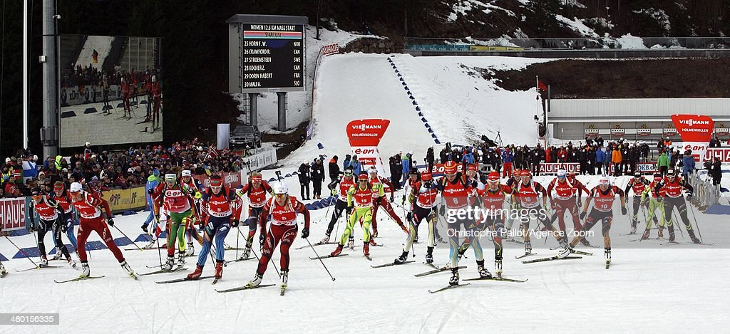 Start during the IBU Biathlon World Cup Men's and Women's Mass Start on March 23 2014 in Oslo Holmenkollen Norway