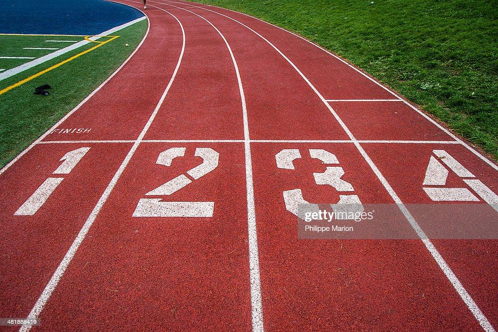 Start line of high school track