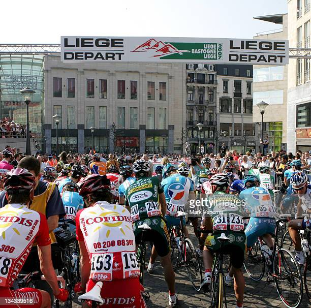 Start of the 2007 Liege Bastogne Liege Pro Tour cycling event in Ans Belgium on April 29 2007