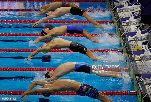 Start of the 4x100 Medley Relay final on day six of the 13th FINA World Swimming Championships at the WFCU Centre on December 11 2016 in Windsor...