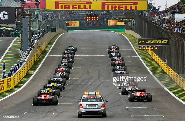 Start of the Brazilian Formula One Grand Prix at Autodromo Jose Carlos Pace on November 24 2013 in Sao Paulo Brazil