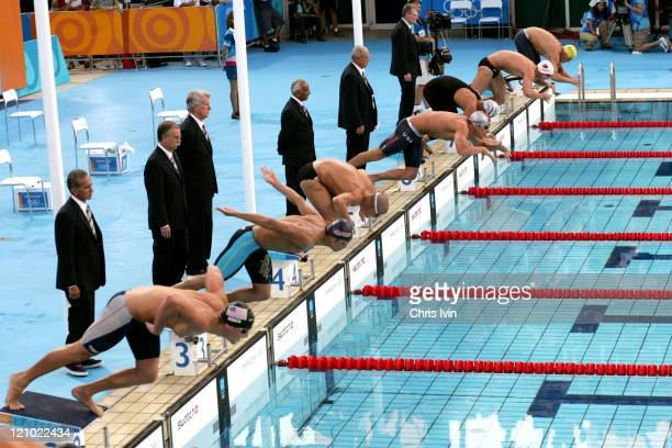 Start of the Men's 200m Breaststroke Final at the Olympic Aquatic Centre in Athens Greece on August 16 2004 Kosuke Kitajima of Japan wins with a time...