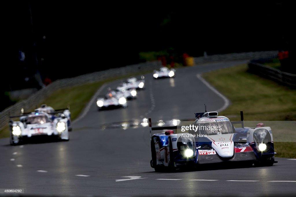 Start of the race Toyota Racing Toyota TS 040 Hybrid of Alexander Wurz Stéphane Sarrazin Kazuki Nakajima leads the field during the Le Mans 24h Race...