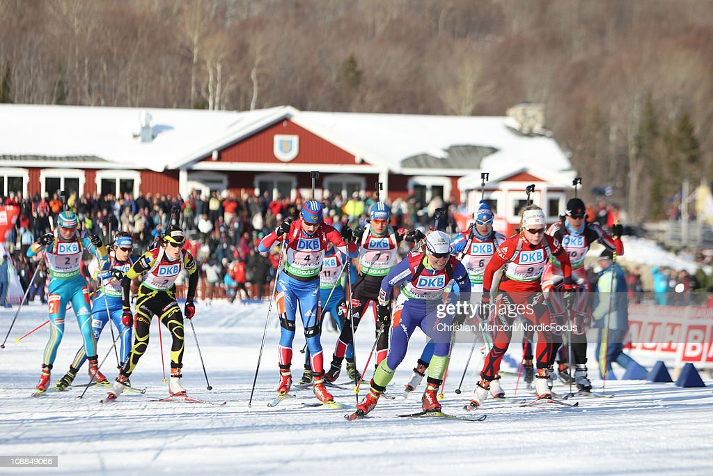 Start of the race with Andreja Mali of Slovenia in front of the mixed relay during the E.ON IBU Biathlon World Cup on February 5, 2011 in Presque Isle, Maine.