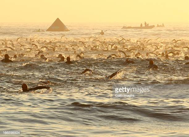 Start of the swim during the SpecSavers Ironman South Africa from Hobie Beach on April 14 2013 in Port Elizabeth South Africa