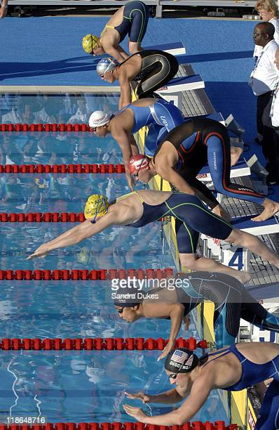 Start of the Women's 200 Meter Butterfly Finals at the XI World Aquatic Championships in Montreal Canada on July 28 2005