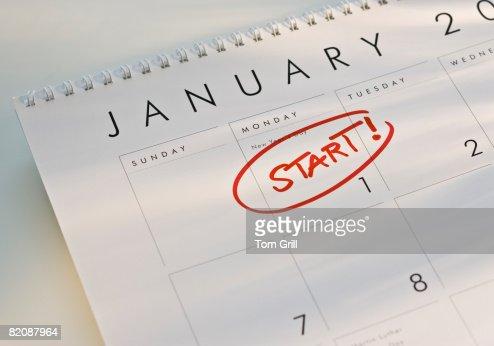 Start on January 1 : Stock Photo