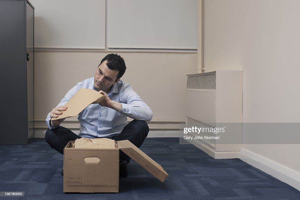 Start up business empty office sorting paperwork : Stock Photo