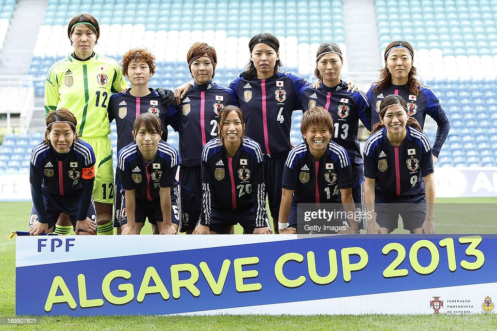 Erina Yamane, Yuka Kado, Asano Nagasato, Saki Kumagai, Rumi Utsugi, Yuki Ogimi; Front Row (L to R) Azusa Iwashimizu, Aya Sameshima, Emi Nakajima, Asuna Tanaka, Nahomi Kawasumi during the Algarve Cup 2013 match between Denmark and Japan at the Algarve stadium on March 11, 2013 in Faro, Portugal.
