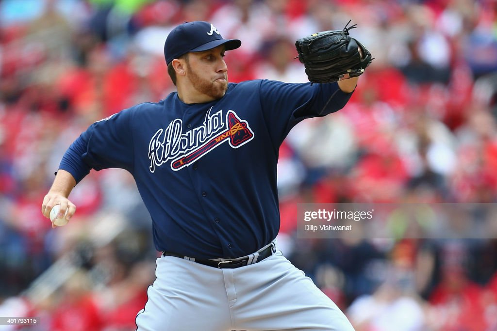 Starter Aaron Harang of the Atlanta Braves pitches against the St Louis Cardinals at Busch Stadium on May 17 2014 in St Louis Missouri