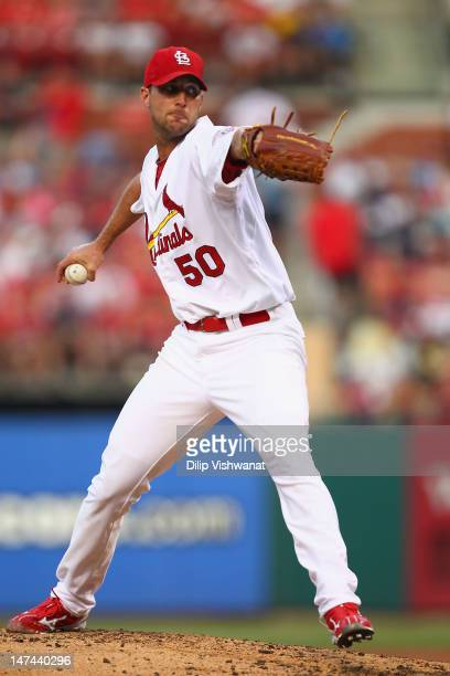 Starter Adam Wainwright of the St Louis Cardinals pitches against the Pittsburgh Pirates at Busch Stadium on June 29 2012 in St Louis Missouri