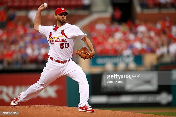 Starter Adam Wainwright of the St Louis Cardinals pitches against the Chicago Cubs during the first inning at Busch Stadium on May 23 2016 in St...