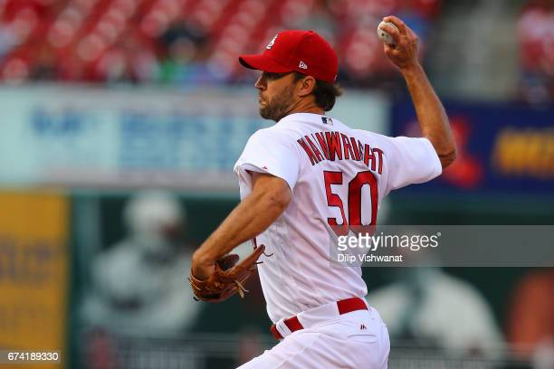 Starter Adam Wainwright of the St Louis Cardinals pitches against the Toronto Blue Jays in the first inning at Busch Stadium on April 27 2017 in St...