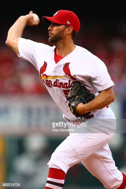 Starter Adam Wainwright of the St Louis Cardinals pitches against the Pittsburgh Pirates in the first inning at Busch Stadium on June 23 2017 in St...