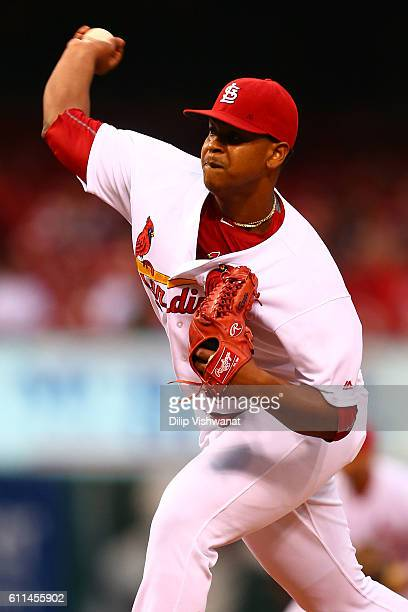 Starter Alex Reyes of the St Louis Cardinals pitches against the Cincinnati Reds in the first inning at Busch Stadium on September 29 2016 in St...
