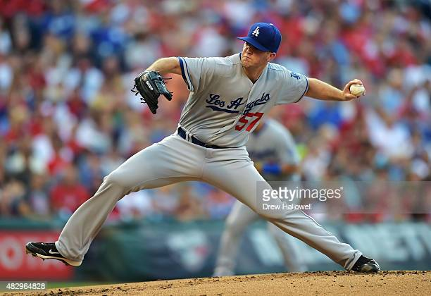 Starter Alex Wood of the Los Angeles Dodgers delivers a pitch in the first inning against the Philadelphia Phillies at Citizens Bank Park on August 4...