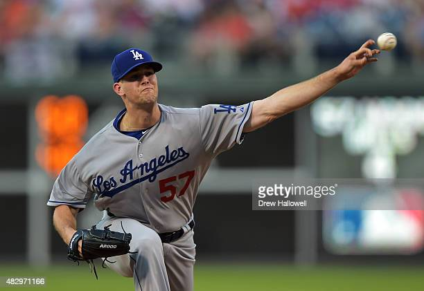 Starter Alex Wood of the Los Angeles Dodgers delivers a pitch in the second inning against the Philadelphia Phillies at Citizens Bank Park on August...