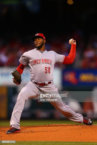 Starter Amir Garrett of the Cincinnati Reds pitches against the St Louis Cardinals in the first inning at Busch Stadium on April 7 2017 in St Louis...