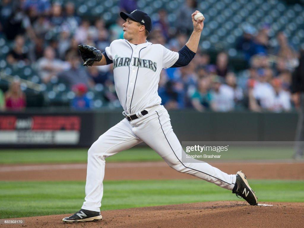 Starter Andrew Albers #63 of the Seattle Mariners delivers a pitch during the first inning of a game against the Baltimore Orioles at Safeco Field on August 15, 2017 in Seattle, Washington. The Mariners won 3-1.
