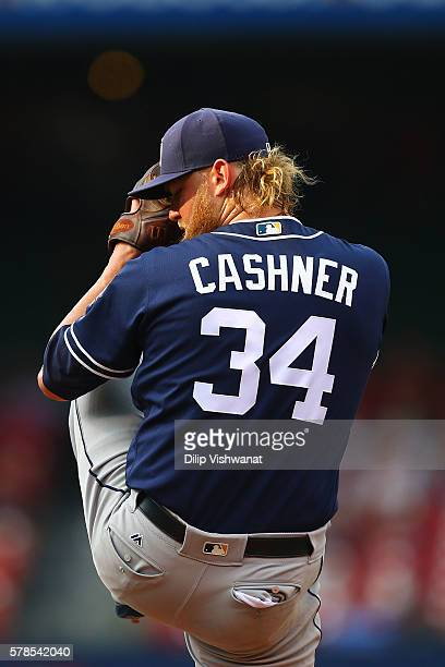 Starter Andrew Cashner of the San Diego Padres pitches against the St Louis Cardinals in the first inning at Busch Stadium on July 21 2016 in St...