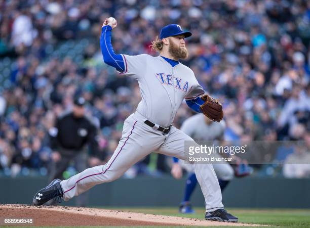 Starter Andrew Cashner of the Texas Rangers delivers a pitch during the first inning of a game at Safeco Field on April 15 2017 in Seattle Washington...