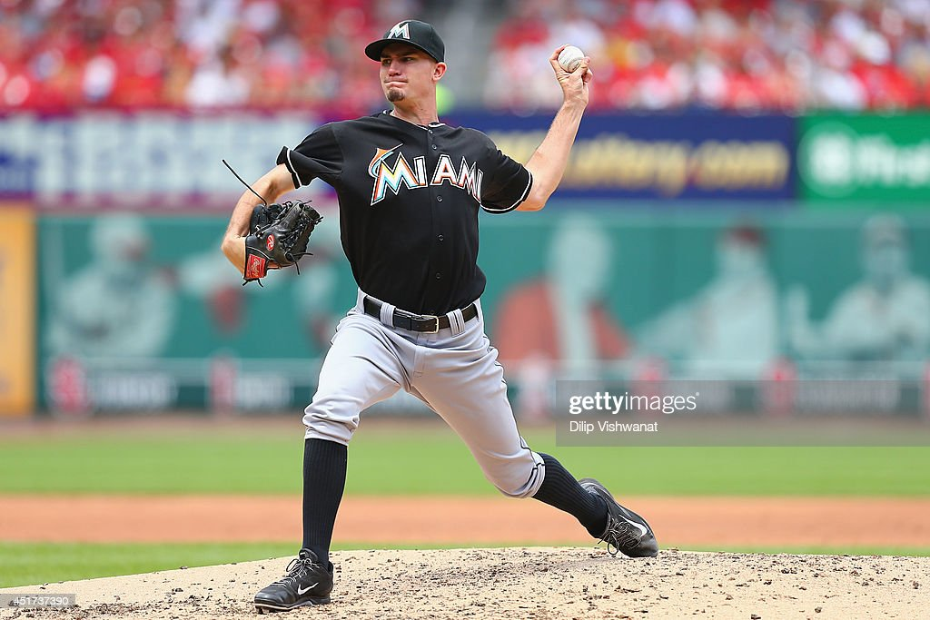 Starter <a gi-track='captionPersonalityLinkClicked' href=/galleries/search?phrase=Andrew+Heaney+-+Baseball+Player&family=editorial&specificpeople=13834210 ng-click='$event.stopPropagation()'>Andrew Heaney</a> #25 of the Miami Marlins pitches against the St. Louis Cardinals in the third inning at Busch Stadium on July 5, 2014 in St. Louis, Missouri.