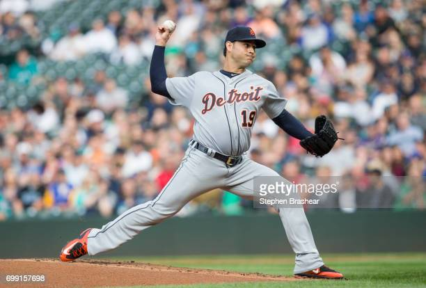 Starter Anibal Sanchez of the Detroit Tigers delivers a pitch during a game against the Seattle Mariners at Safeco Field on June 19 2017 in Seattle...