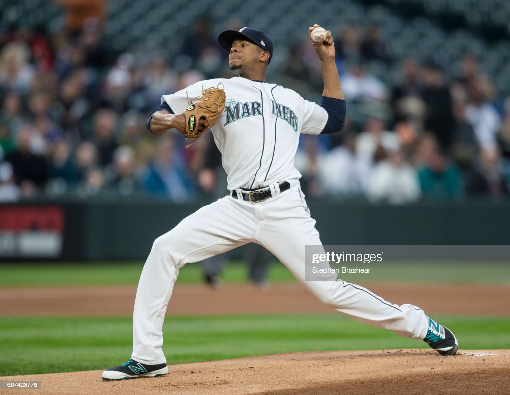 Starter Ariel Miranda #37 of the Seattle Mariners delivers a pitch during the first inning of a game against the Houston Astros at Safeco Field on April 11, 2017 in Seattle, Washington.