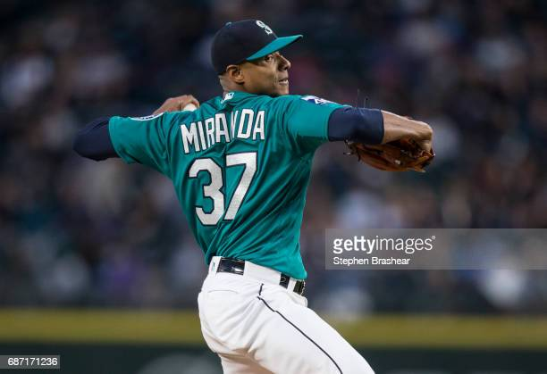 Starter Ariel Miranda of the Seattle Mariners delivers a pitch during a game against the Chicago White Sox at Safeco Field on May 19 2017 in Seattle...