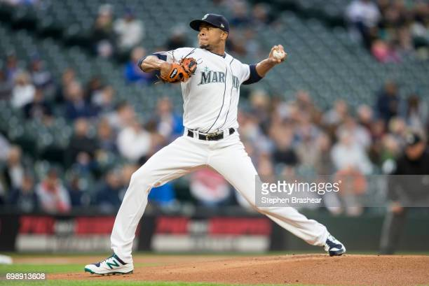 Starter Ariel Miranda of the Seattle Mariners delivers a pitch during the first inning of a game against the Detroit Tigers at Safeco Field on June...