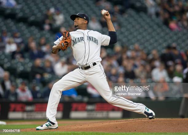 Starter Ariel Miranda of the Seattle Mariners delivers a pitch during a game against the Detroit Tigers at Safeco Field on June 20 2017 in Seattle...