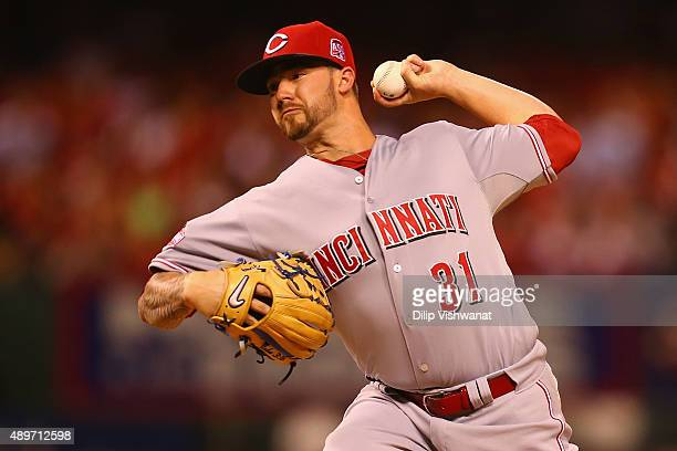 Starter Brandon Finnegan of the Cincinnati Reds pitches against the St Louis Cardinals in the first inning at Busch Stadium on September 23 2015 in...