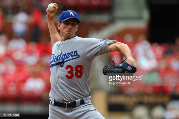 Starter Brandon McCarthy of the Los Angeles Dodgers pitches against the St Louis Cardinals in the first inning at Busch Stadium on June 1 2017 in St...