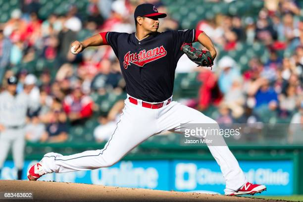 Starter Carlos Carrasco of the Cleveland Indians pitches during the first inning against the Tampa Bay Rays at Progressive Field on May 15 2017 in...