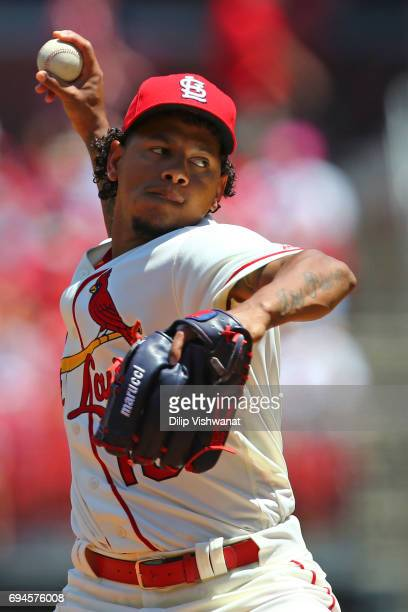 Starter Carlos Martinez of the St Louis Cardinals delivers a pitch against the Philadelphia Phillies in the second inning at Busch Stadium on June 10...