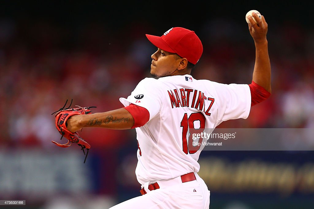 Starter Carlos Martinez #18 of the St. Louis Cardinals pitches against the Detroit Tigers in the first inning at Busch Stadium on May 15, 2015 in St. Louis, Missouri.