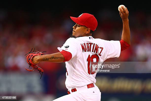 Starter Carlos Martinez of the St Louis Cardinals pitches against the Detroit Tigers in the first inning at Busch Stadium on May 15 2015 in St Louis...