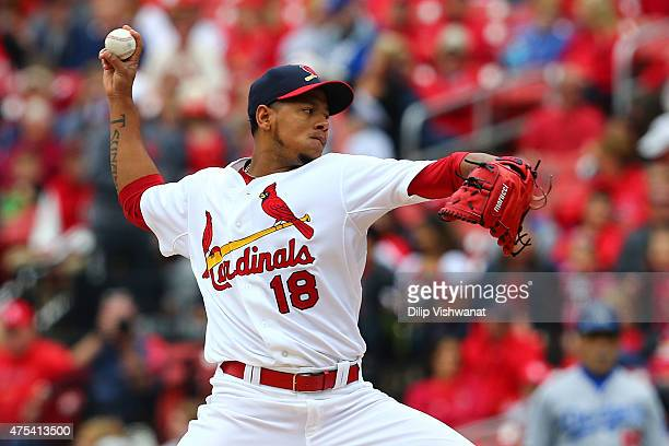 Starter Carlos Martinez of the St Louis Cardinals pitches against the Los Angeles Dodgers in the first inning at Busch Stadium on May 31 2015 in St...