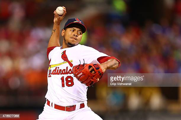 Starter Carlos Martinez of the St Louis Cardinals pitches against the Chicago Cubs in the first inning at Busch Stadium on June 28 2015 in St Louis...