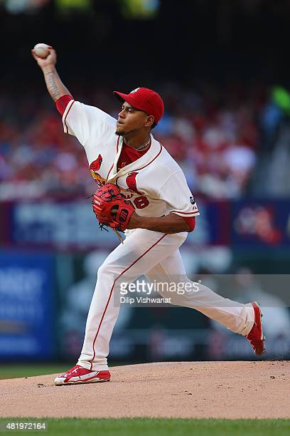 Starter Carlos Martinez of the St Louis Cardinals pitches against the Atlanta Braves in the first inning at Busch Stadium on July 25 2015 in St Louis...