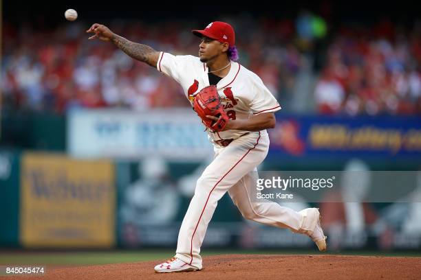 Starter Carlos Martinez of the St Louis Cardinals pitches during the first inning against the Pittsburgh Pirates at Busch Stadium on September 9 2017...