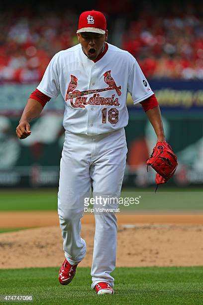 Starter Carlos Martinez of the St Louis Cardinals reacts after recoding the third out of the fifth inning against Arizona Diamondbacks at Busch...