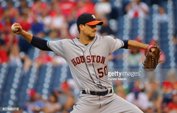Starter Charlie Morton of the Houston Astros throws a pitch in the first inning during a game against the Philadelphia Phillies at Citizens Bank Park...