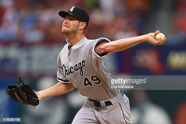 Starter Chris Sale of the Chicago White Sox pitches against the St Louis Cardinals in the first inning during interleague play at Busch Stadium on...