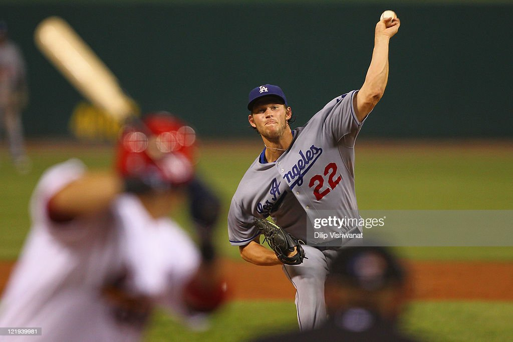 Starter Clayton Kershaw pitches against St Louis Cardinals at Busch Stadium on August 23 2011 in St Louis Missouri