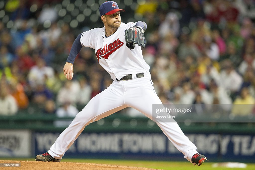 Starter <a gi-track='captionPersonalityLinkClicked' href=/galleries/search?phrase=Corey+Kluber&family=editorial&specificpeople=7513243 ng-click='$event.stopPropagation()'>Corey Kluber</a> #28 of the Cleveland Indians pitches during the first inning against the Boston Red Sox at Progressive Field on June 4, 2014 in Cleveland, Ohio.